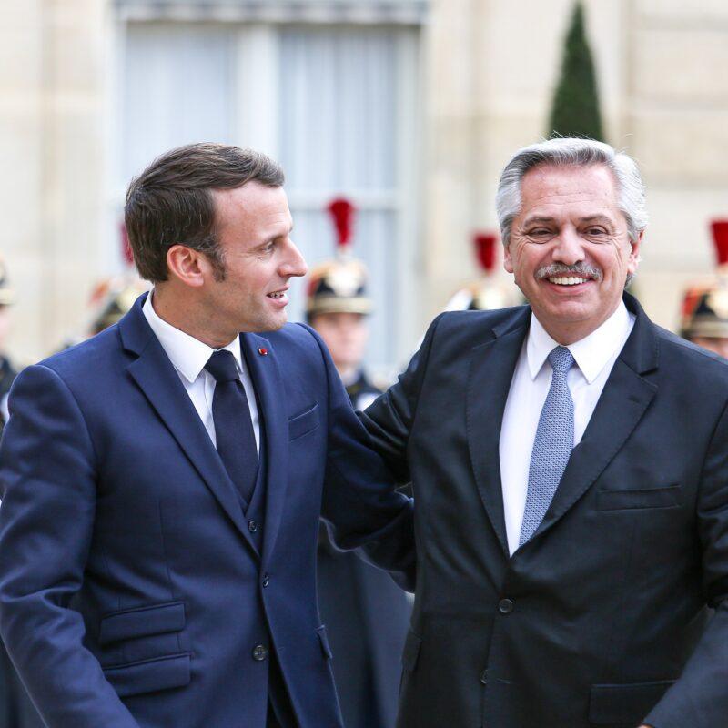 Alberto Fernández brindó una conferencia de prensa junto con Emanuel Macron